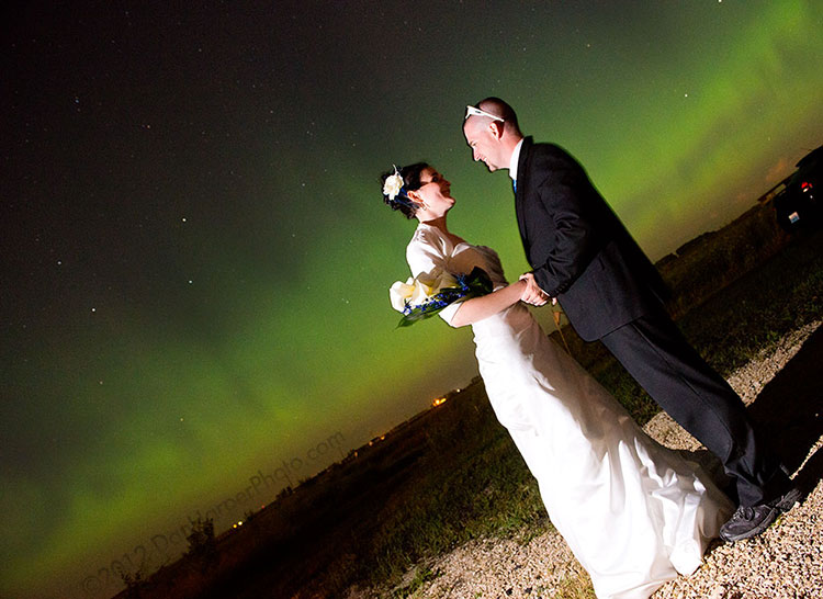 my wedding with northern lights