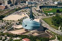 canadian museum for human rights helicopter aerial stock photography