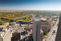 Winnipeg aerial stock photography - Rooftops